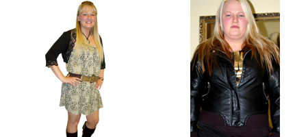 Before and after images of Amanda Dickens